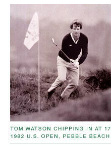 Tom Watson immediately after chipping in at 17, 1982 U.S. Open at Pebble Beach